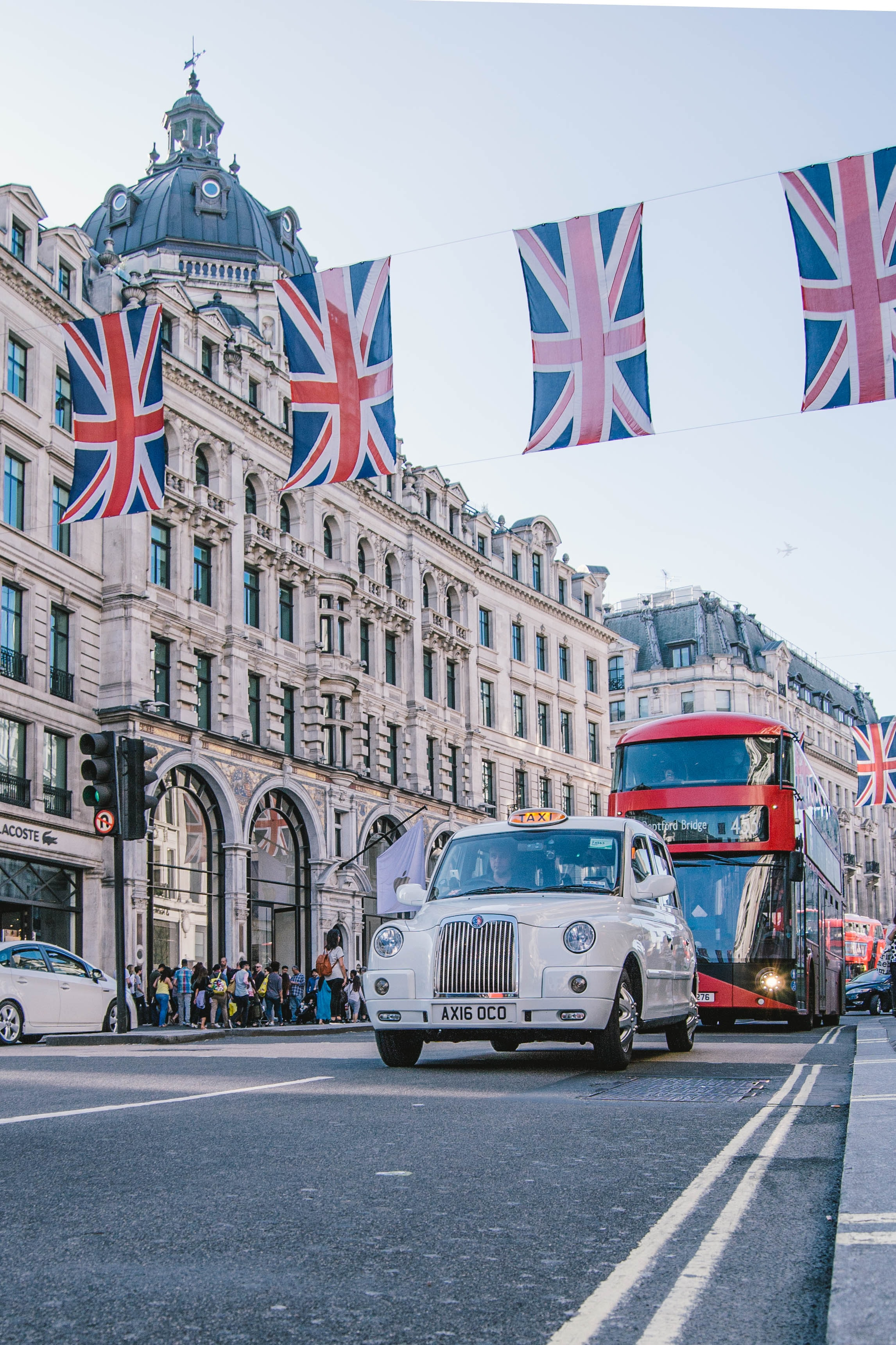 UK flags, taxi and bus